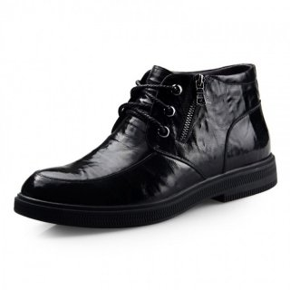 Men wool lining shoes add height 6.5cm / 2.56inch black zip taller cotton boot