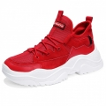 Trendy Taller Knit Running Shoes Red Men Lift Sneakers Height 2.8inch / 7cm