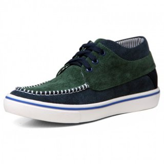 2018 Height Increasing Trainers Taller 2.2inch / 5.5cm Green Canvas Elevator Boat Shoes