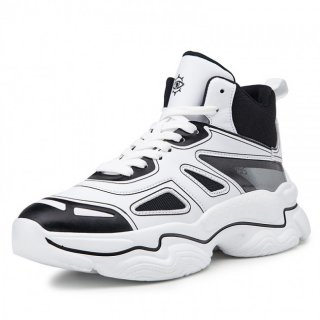 Black Elevator Celebrity Sports Shoes Hidden Lift Basketball Shoes Add Taller 3.2inch / 8cm