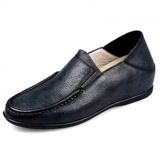Comfortable Elevator Loafers Black Stitching Calf Leather Slipper Shoes Taller 2.2inch / 5.5cm