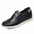 Ultra light cowhide elevator casual shoes 6cm / 2.36inch black walking shoes
