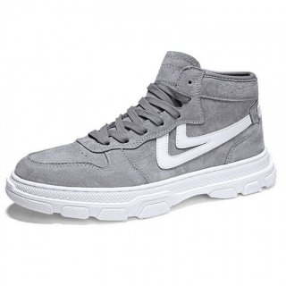 Hidden Lift High Top Sneakers Grey Leather Elevator Skate Shoes Add Taller 3inch / 7.5cm