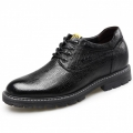 Black Lizardstripe Elevator Shoes Spacious Toe Business Shoes Gain Height 2.6inch / 6.5cm