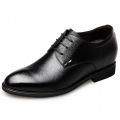 2018 Premium Soft Leather Elevator Dress Shoes 2.6inch / 6.5cm Black Taller Men Wedding Shoes