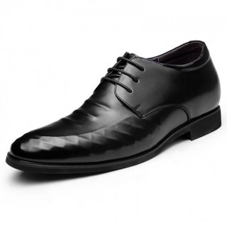 Black elevator lace-up formal dress shoes add height 8cm / 3.15inches British derby shoes