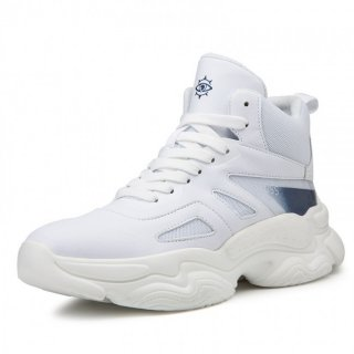 White Elevator Celebrity Sports Shoes Hidden Height Basketball Shoes Look Taller 3.2inch / 8cm