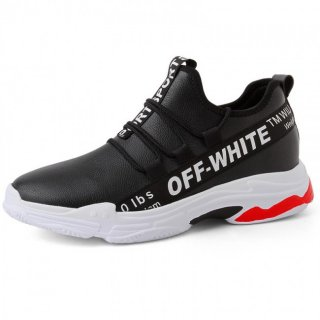 Fashion Elevator Racing Shoes Black Leather Slip On Sneakers Get Taller 3inch / 7.5cm