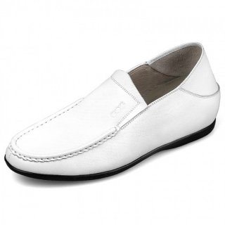 Comfortable Elevator Loafers White Stitching Calf Leather Slipper Shoes Height 2.2inch / 5.5cm