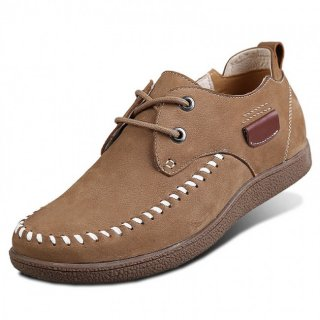 Khaki Nubuck Leather Higher Casual Shoes Increase Height 6cm / 2.36inches Elevator Leisure Shoes