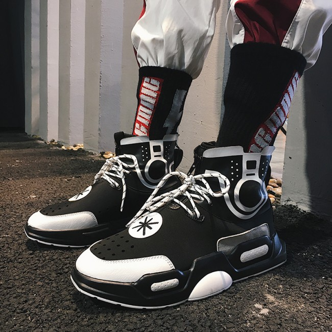 Fashion Elevator Street Hip Hop Sneakers Black High Top Board Shoes Taller 3.2inch / 8cm