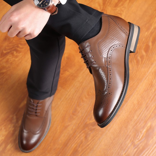 Hollow Holes Elevator Oxfords Brown Cowhide Taller Dress Sandals Add Height 2.8inch / 7cm