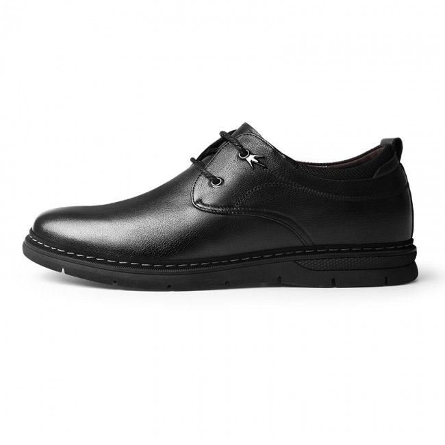 Black Soft Cowhide Hidden Height Shoes Lace Up Casual Business Shoes Taller 2.4inch / 6cm