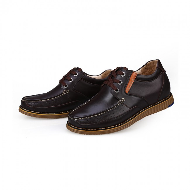 Brown full-grain calf leather casual higher shoes that add height 6cm / 2.36inches